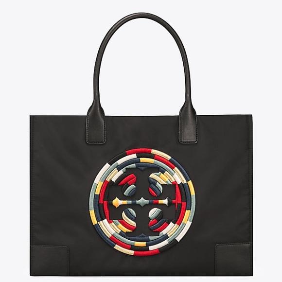 518c0b3281 Tory Burch Bags | Nwt Ella Rope Tote Embroidered Black | Poshmark